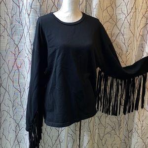 Fringe crew neck sweater flowing style Zara